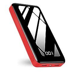 【2020最新型】モバイルバッテリー 大容量 30000mAh 搭載 2入力ポート(micro USB/Type-C) 急速充電 LCD残量表示 鏡仕上げ高級感なデザイン PSE認証済 iPhone & Android 各種対応 (黑赤) (红)の商品画像