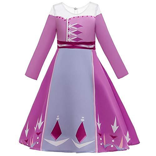 OBEEII Disfraz de Princesa Elsa Niñas Manga Larga Reino de Hielo Vestido de Carnaval Fiesta Halloween Traje Cosplay Navidad Costume
