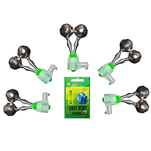 KemCarp 5 Stück Bissanzeiger Angelglocken mit 5 Knicklichtern Aal Glocke Angel Glocke Angelruten-Alarm mit Knicklichthalterung Nacht Meer Angelrute Doppelglöckchen Fisch Bissalarm (5 Stück Grün)