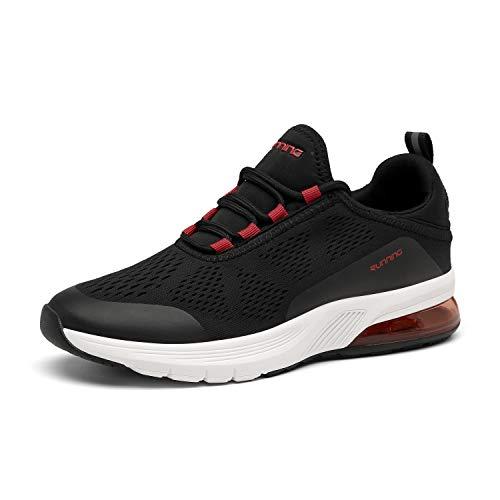 FOGOIN Laufschuhe Herren Damen Sportschuhe Sneaker Atmungsaktiv Leichtgewichts Turnschuhe Straßenlaufschuhe Trainer, 46 EU, Schwarz Rot