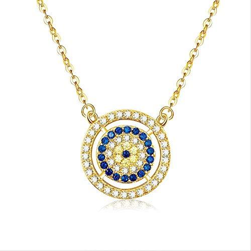CCXXYANG Co.,ltd Necklace Evil Eyes 925 Sterling Silver Necklace Women Blue Main Stone Lucky Evil Eyes Necklace Turkey Jewelry