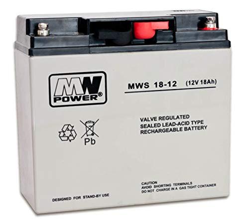 MW-Power MWS-18-12 AGM Gel Batterie Akku VRLA 12V 18Ah (C20) baugleich 17Ah 20Ah