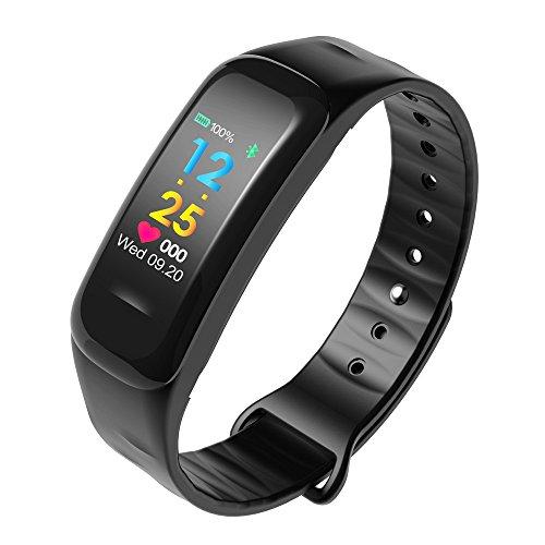 Yumimi88 Fitness Armband Tracker Schrittzähler Sportuhr Wasserdichtes Smart Armband Pedometer mit Herzfrequenzmesser Sportmodi (Schwarz)