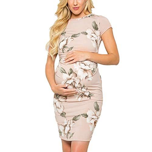 Allence Damen Umstands Gerafften Stillkleid Maxikleid Blumen Maternity Kleid,Damen Umstandsmode Sommerkleid Festliches Umstandskleid Schwangeren Kleider