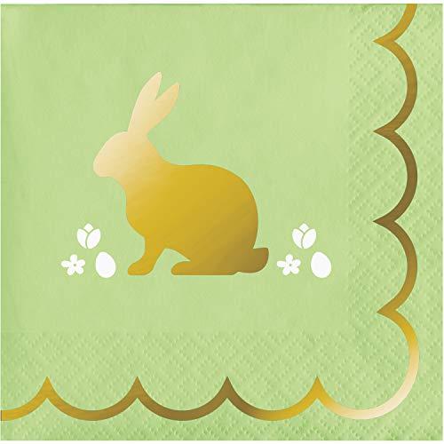 Creative Converting 16 tovaglioli Piccoli in Carta Coniglio Dorato 25 cm Taglia Unica