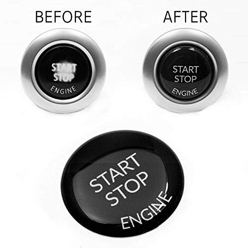 Start Stop Engine Knopf (1 Stück) Aufkleber Reparatur Schalter Schutz Kappe Austausch Taste Tastenabdeckung zündschlüssel Cover Zündung Schwarz
