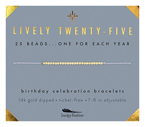 "Image of the Lucky Feather Happy 25th Birthday Gifts for Women - 14K Gold Dipped Beads Bracelet on Adjustable 7""- 8"" Cord - Turning 25 Birthday Gifts for Her"