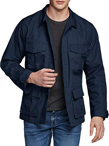 CQR Men's Casual Military Jacket, Water Repellent Field Army Jackets, Outdoor Ripstop Utility Jackets, BDU Jacket(ubk01) - Navy, Large