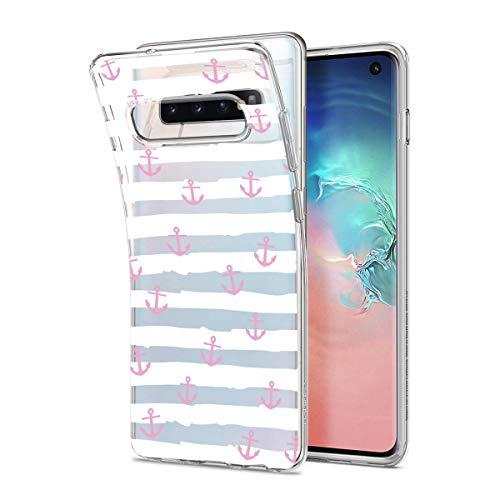 HULI Design Hülle Hülle für Samsung Galaxy S10 Handy im rosa Anker Design - Handyhülle aus TPU Silikon - Schutzhülle klar im maritim Muster Kreuzfahrt Anchor - Transparent & Slim für Dein Smartphone
