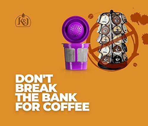 K&J Reusable K-Cups Compatible with Keurig 1.0 & 2.0 Machines (4-Pack) - Fits Most Keurig K-Cup Brewers (see full list)