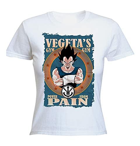 MERCHANDMANIA Camiseta Mujer A3 Vegeta Saiyajin Power Gym Woman Tshirt