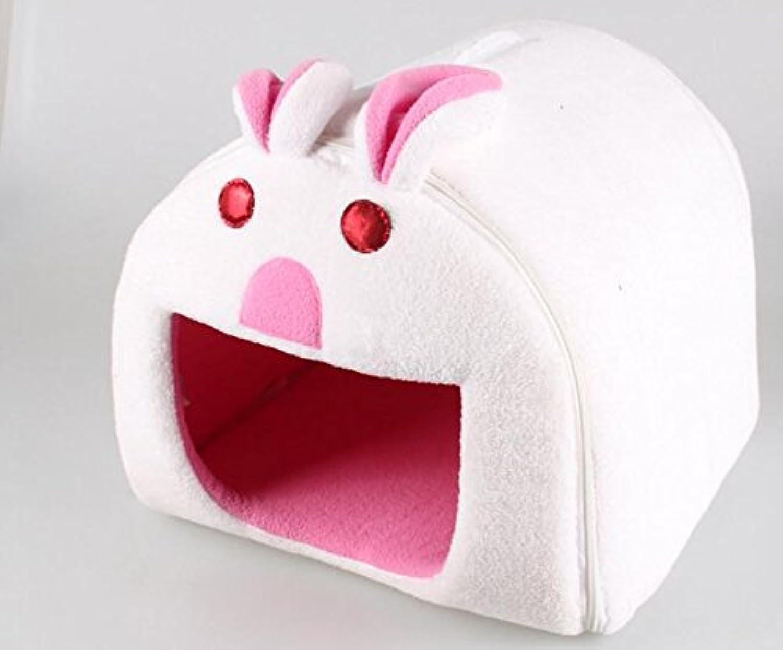 Pet Supplies Cat Soft Mattress Animal Cartoon Shape Folding Pet Nest Pet Products (White Rabbit)