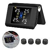 Jansite TPMS Sistema de monitoreo de presión de neumáticos de energía Solar con 4 sensores externos Pantalla LCD en Tiempo Real