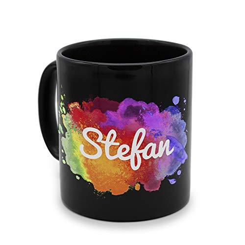 printplanet - Tasse Schwarz mit Namen Stefan - Motiv: Color Paint - Namenstasse, Kaffeebecher, Mug, Becher, Kaffeetasse