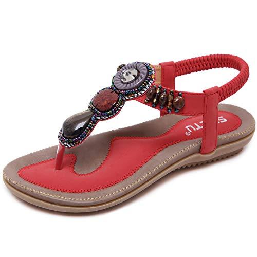 JIANKE Sandali Donna Piatti Bohemia Casual Sandali Scarpe Estivi da Spiaggia Rosso 37 EU