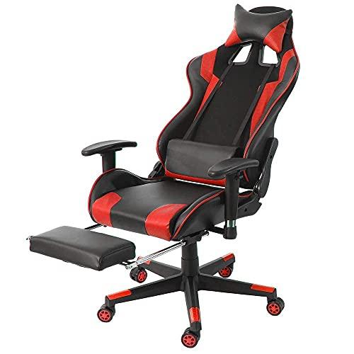 SuRose Sillón reclinable de oficina ajustable con elevación giratoria de piel sintética para oficina, computadora, juegos, con reposapiés para muebles para el hogar (color 0866)