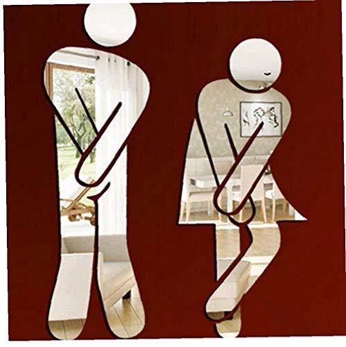 Case Cover Wand-Aufkleber-entfernbarer Spiegel-Aufkleber-Mann-Frauen-Muster-Wand-Aufkleber Für Washroom Toilette DIY Wand-dekor