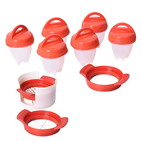 6pc Nonstick Slicers Egg Boiler Poachers Steamer 3 Piece Multi Functional Egg Slicer Cutter 6 Piece Silicone Egg Cups Boilers White Red