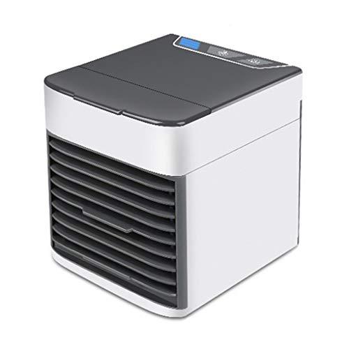 WANG mobiele airconditioning, desktopventilator, voor thuis en op kantoor, met USB-poort en inbouw-LED-licht (wit)