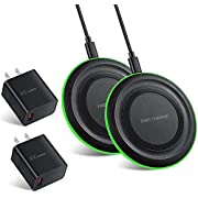 Wireless Charger with QC 3.0 Adapter (2-Pack) 7.5W Compatible with iPhone 11/11 Pro/11 Pro/Xs MAX/XR/XS/X/8/8+, 10W Compatible with Galaxy S10/S10+/S9/S8/Note 10+ Fast Wireless Charging Pad (Black)