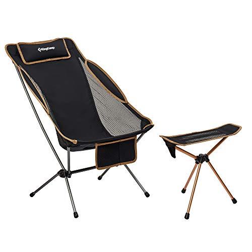 KingCamp Alu Campingstuhl Hocker Set für Camping Outdoor, 2-Fach Verstellbarer Stuhl mit Hocker/Fußablage