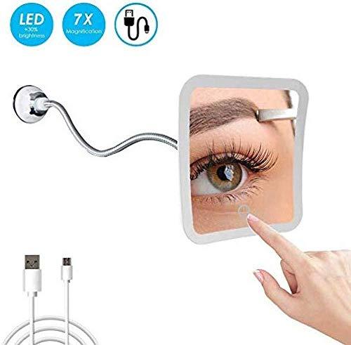 YOYOBANG Schwanenhalslupe 7-fache Vergrößerungs-LED beleuchtet mit starkem Saugnapf 360 ° drehbarer batteriebetriebener/USB-Kompakt-Reisespiegel