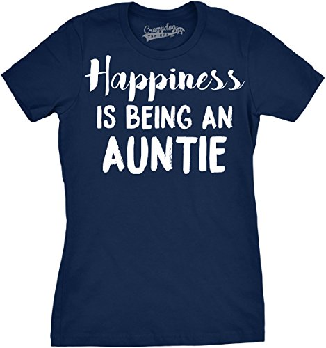 Womens Happiness is Being an Auntie Funny for Best Aunt T Shirt Cool (Navy) - L