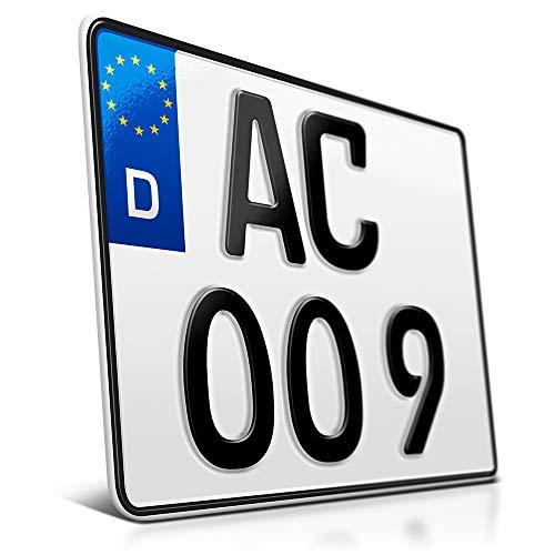 schildEVO 1 Kfz Kennzeichen | 250 x 200 mm | Motorrad & Roller | Saison | Quad | SUV | Anhänger | Motorrad-Kennzeichen