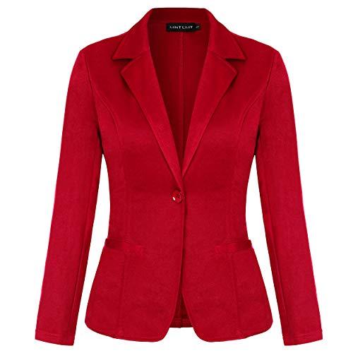 MINTLIMIT Damen Elegante Langarm Blazer Sakko Einfarbig Slim Fit Knöpfe Tasche Tailliert Geschäft Büro Kurzjacke(Rot,Größe XL)