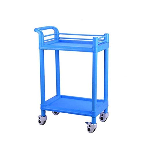 XUSHEN-HU Carro-Doble del salón de Belleza de la Compra de Instrumentos de la Compra del Hospital de uñas Cesta Carro de la Herramienta Azul móvil práctico (Tamaño: 54 * 37 * 90 cm) Cocina