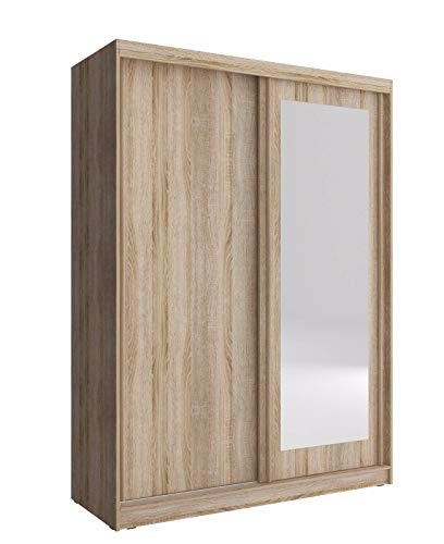 PSK Armario pequeño con 2 puertas correderas de dormitorio con espejo, luz blanca de 150 cm de roble SONOMA