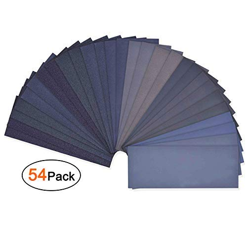 Asgens Sandpaper, 54 Pcs 60 to 3000 Grit Wet and Dry Waterproof Sandpaper Assortment for Automotive Polishing And...