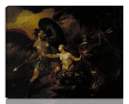 Berkin Arts William Hogarth Teso giclée Stampa su Tela-Dipinti Dipinti Belle Arti Manifesto-Riproduzione Decorazione murale Pronto da Appendere(Una Scena dal Paradiso perduto di Milton)#NK