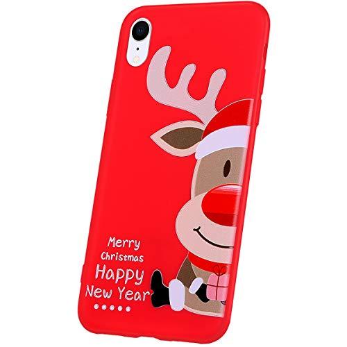 Compatibel met iPhone XR hoes silicone beschermhoes rood met kerstmis patroon ultra dunne zachte silicone hoes voor mobiele telefoon TPU bumper case tas etui, wit kerstboom Weihnachts Muster 03