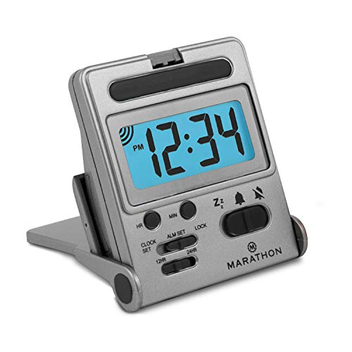 Marathon Basics Travel Alarm Clock, Easy to use, Easy to Set, Perfect for Camping - Battery Included - CL030010 (Titanium)