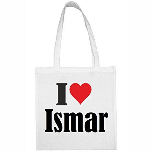 Tasche I Love Ismar Größe 38x42 Farbe Weiss Druck Schwarz