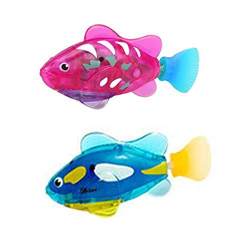2 Stück Elektronische Fisch, Fische aus Kunststoff Spielzeug Roboter Schwimmen Fisch Batteriebetriebene Elektro Schwimmen Tauchen Schwimmdock Wasser aktiviert Clown Fisch Roboter Fische im Wasser