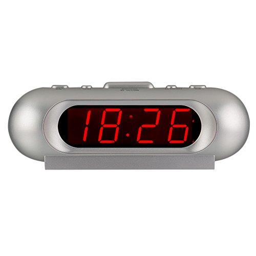 KWANWA 110 dB Super Ruidoso LED Digital Despertador para los durmientes Pesados, AA con Pilas Solamente, se Puede Colocar en Cualquier Lugar sin Cable Engorroso