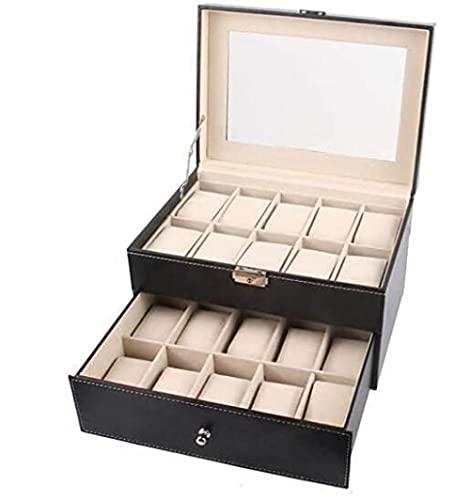 T.T-Q 20 caja de reloj de cuero de doble capa Cajas para relojescaja de almacenamiento de joyas caja de presentación de joyas caja de joyería de regalo de cumpleaños 28 * 20 * 16,5 cm