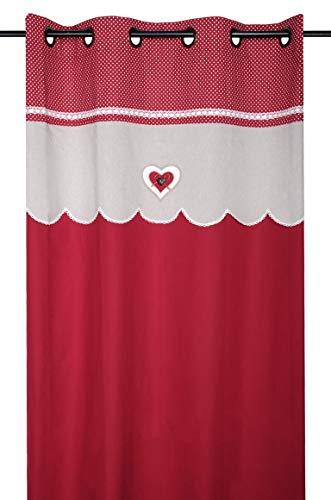 Stof Rideau déco Coeur LYNA Rouge 140 X 260 CM