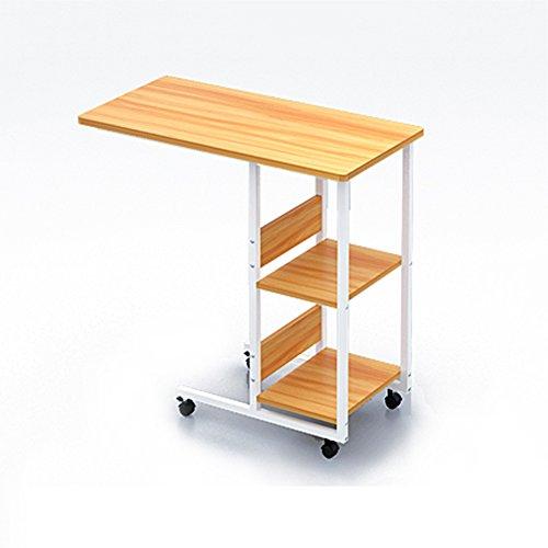 CHGDFQ Mesilla de noche para computadora con almacenamiento simple y mesa de cama, extraíble con ruedas, mesa para ordenador portátil, estaciones de trabajo (color: color madera)