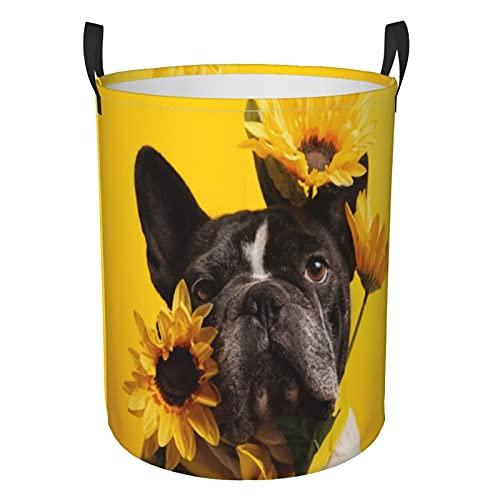 French Bulldog With Sunflowers Laundry Basket Round Storage Basket,Bathroom/Home Decor/Baby Hamper/Boxes/Baby Clothing