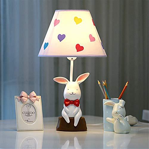 YU-K Petit lapin blanc mignon chambre lampe de bureau lampe de chevet LED dimmable chaleureuse et romantique idées cadeaux enfants,25 * 43CM C