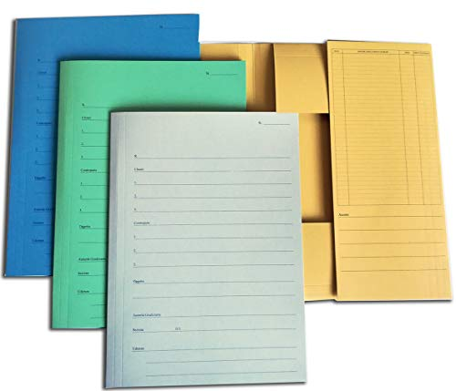 Cartellina 3 Lembi incollati pratica avvocato giallo, Conf. 10 pezzi