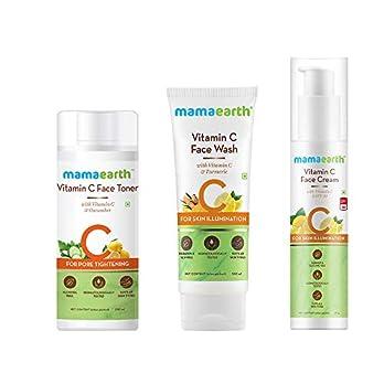 Mamaearth Vitamin C Skincare Facial Kit (Vitamin C – Face Wash 100ml + Face Toner 200ml + Face Cream 50g)