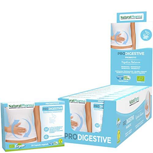 NaturalPharma Probiotico Biologico ProDigestive Pack x10. Benessere Digestivo. Complesso Enzimatico + Estratto di Achillea + Zinco. Capsule Smart BioCaps®. Biologico Senza Glutine & Lattosio, Vegan.