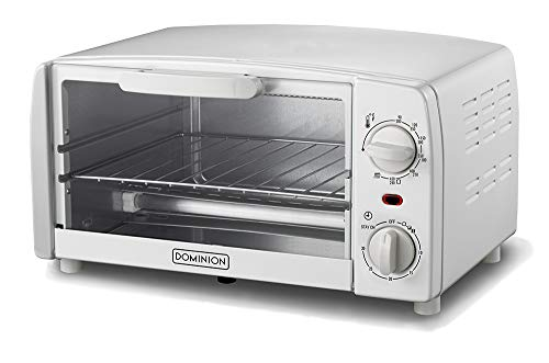 Dominion, 4-Slice Countertop Toaster Oven, Includes Bake Pan, Broil Rack, & Built-In Crumb Tray, White, Adjustable Temperature Control, Heat Resistant Glass, Power Indicator Light, Easy to Clean, Ring Bell & Auto Shut-off