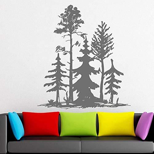 woyaofal Calcomanía de Sala de Estar Moderna de Estilo simplista Grupo de árbol de Pino Adhesivo de Pared Hermoso Vinilo Adhesivo Decoración de habitación Personalizada L 57x64cm