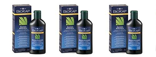 Biosline – Biokap Shampooing anti-chute renforcé Tricofoltil 3 boîtes de 200 ml, anti-chute, renforçant, usage quotidien