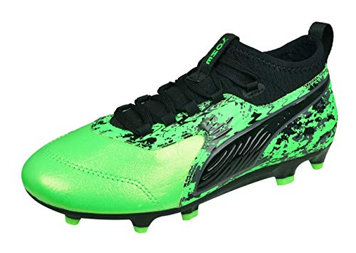 Puma ONE 19.3 FG/AG Jr Fußballschuhe, Grün (Green Gecko Black-Charcoal Gray), 38 EU